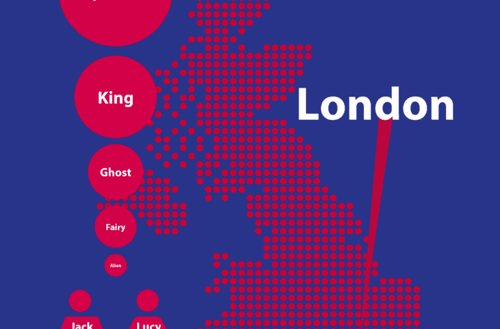 Royal story writing poster highlighting London on a UK map