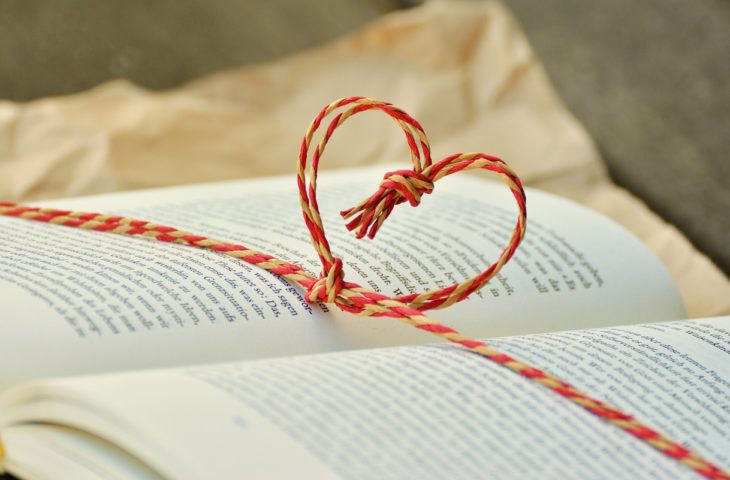 Writing at home tips - book with heart bookmark