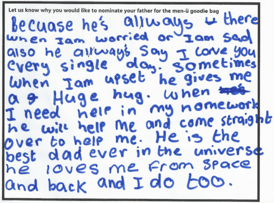 Hannah's Father's Day winning entry