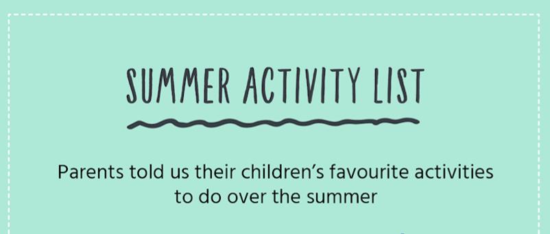 Summer activity list infographic