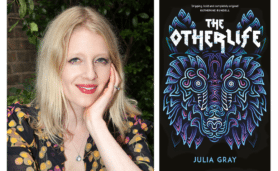 Author Julia Gray with her book cover for 'The Otherlife'
