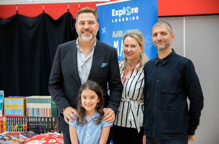 Mia Falatoori, Young Writer of the Year with mum and David Walliams