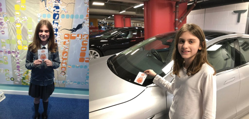 Explore Learning member Charlitte next to an electric car