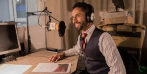 Bobby Seagull behind the microphone