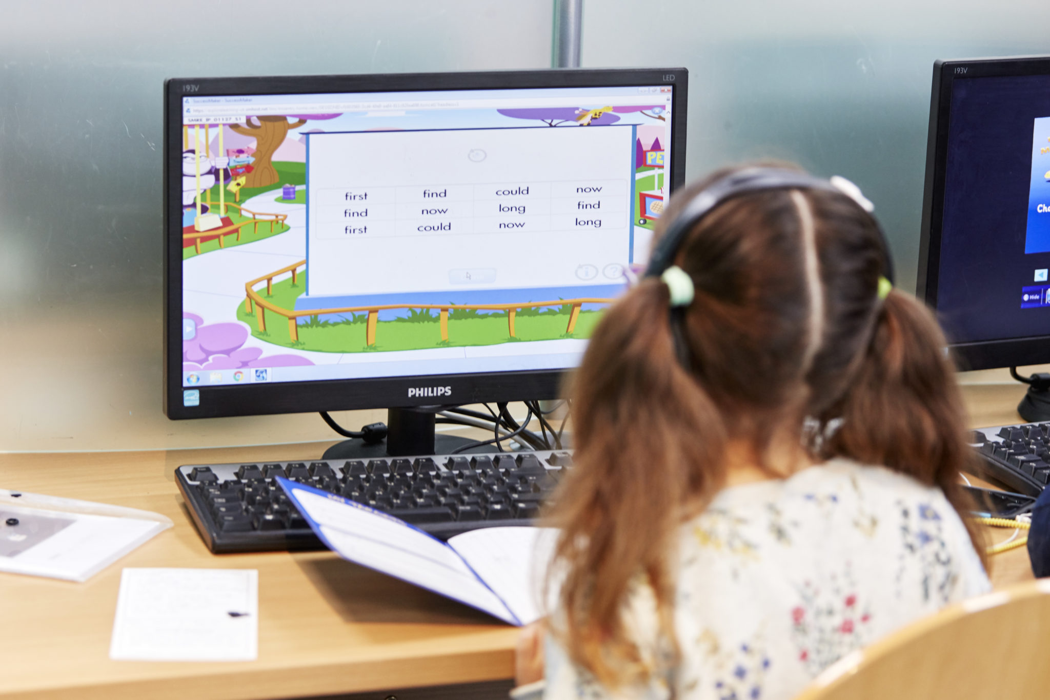 Student completing home learning activities on the computer