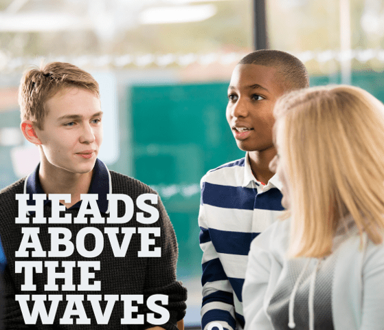 Head Above the Waves logo with young people in the background