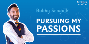 Bobby Seagull banner with text 'Persuing My Passions'