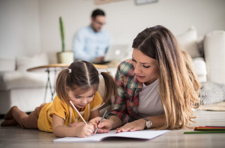 parent and child home schooling