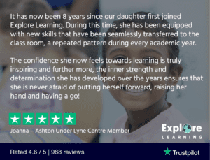 when to get a tutor for your child - Explore Learning testimonial