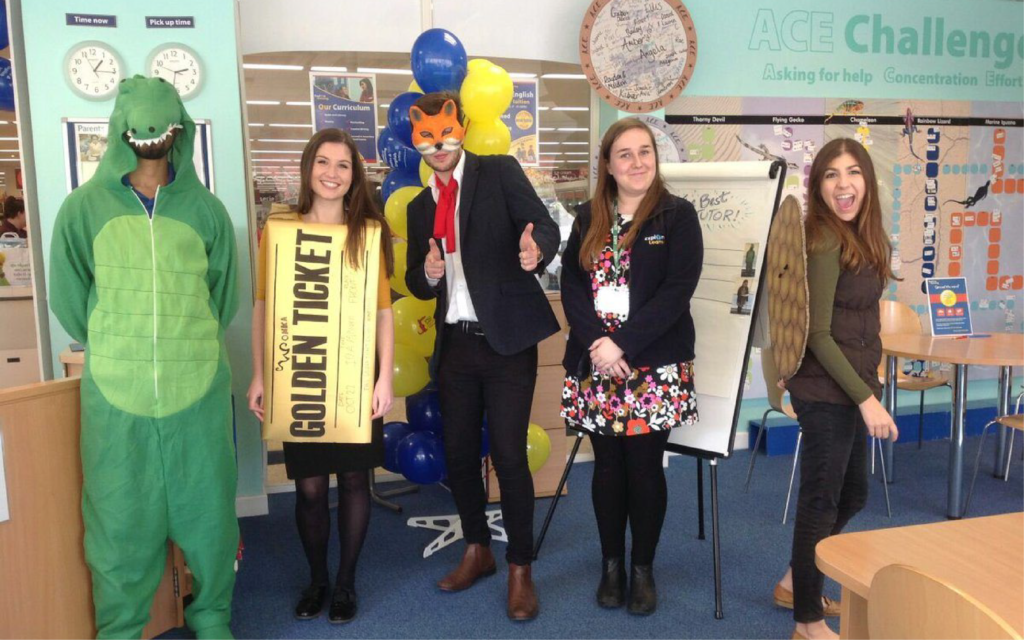 A group of five members of staff from an Explore Learning centre dressed as characters from Roald Dahl books for charity.